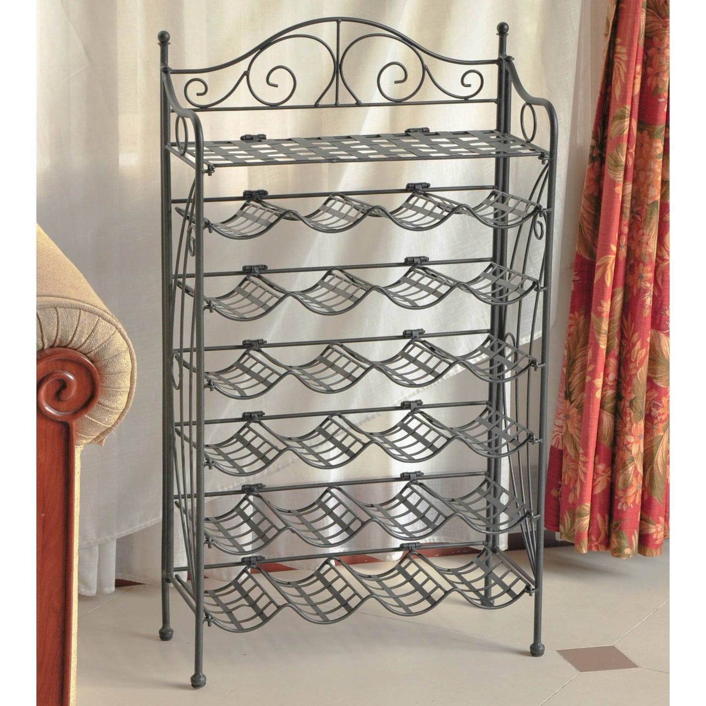 Iron 24-bottle Folding Wine Rack with Shelf Pewter