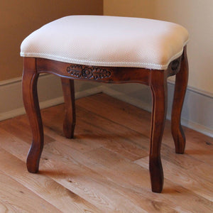 Wood Stool with Cushioned Top Brown Stain
