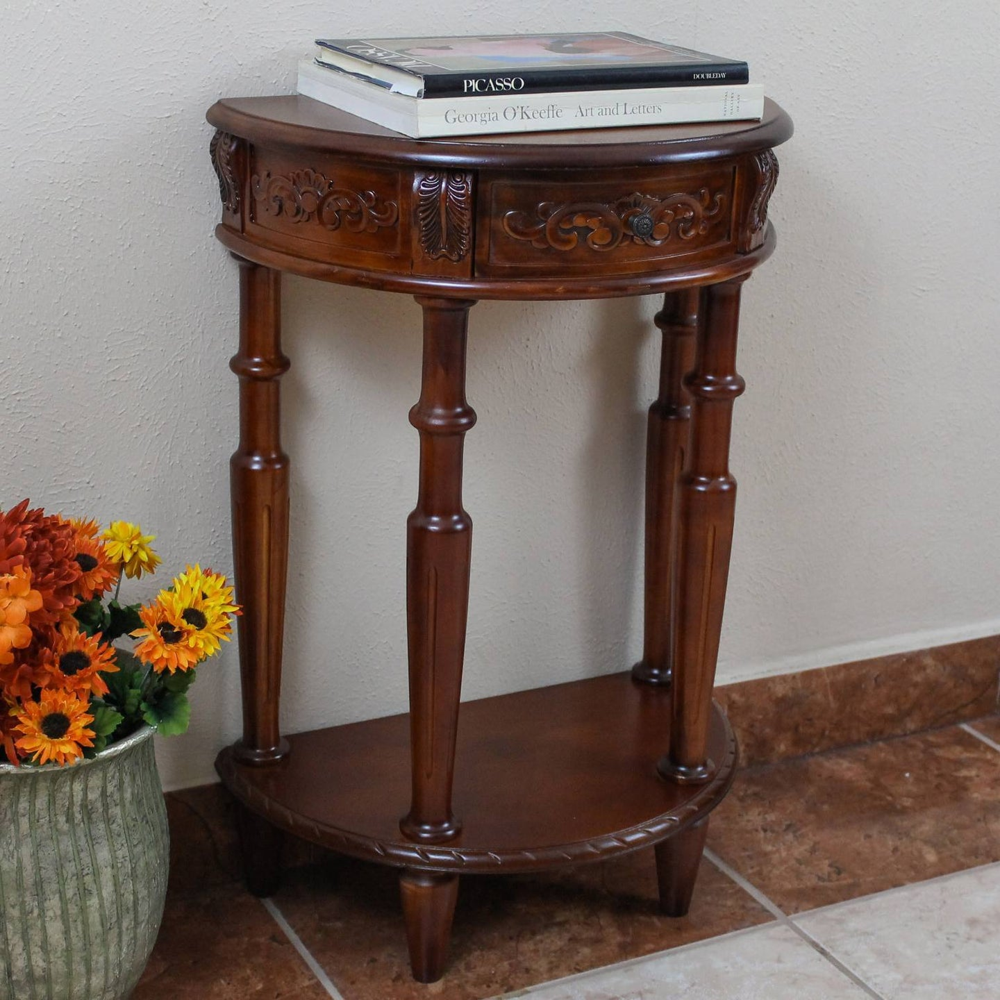 Carved Small 1/2 Moon 2-Tier Wall Table Brown Stain