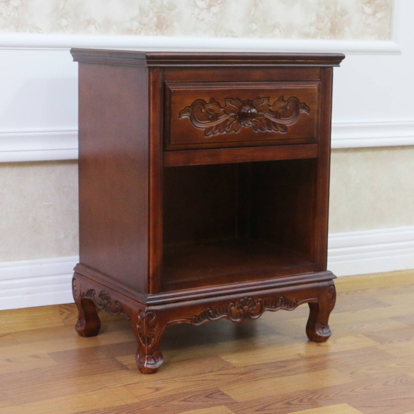 Windsor Hand Carved Wood 1-drawer Table Stain