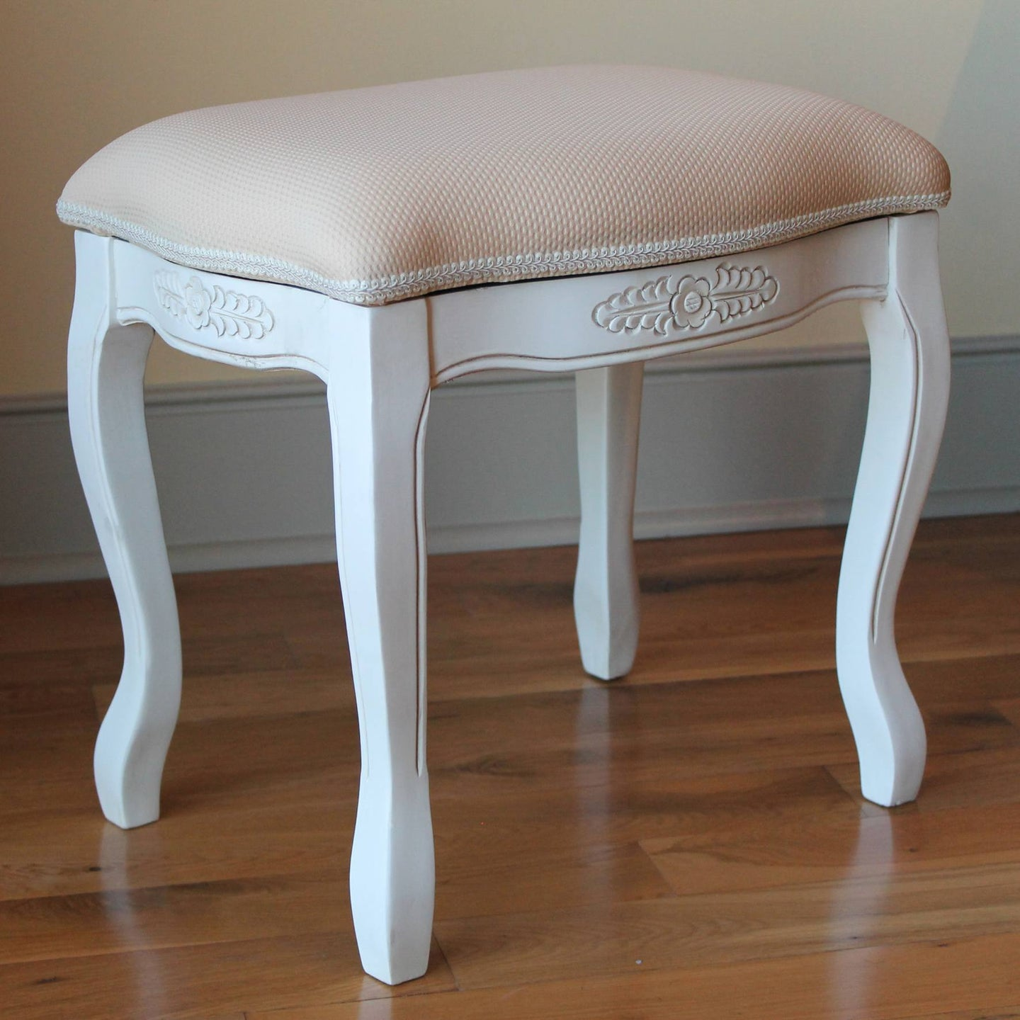 Vanity Stool with Cushion Top Antique White