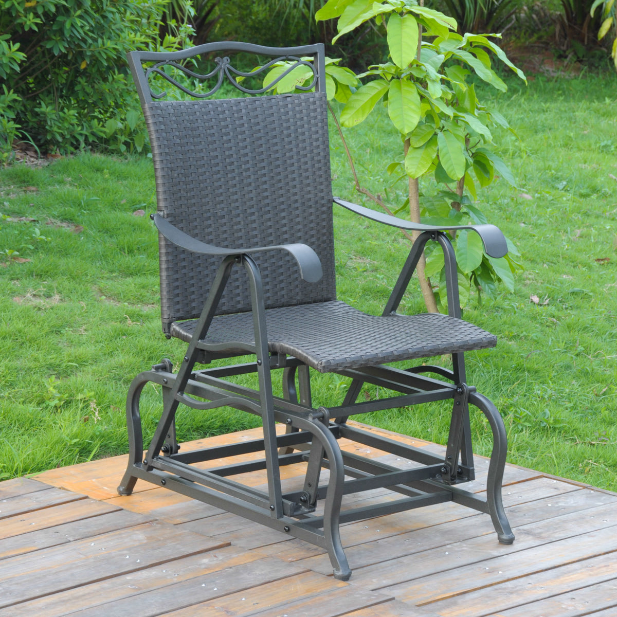 Resin Wicker/Steel Single Glider Black by International Caravan - 1