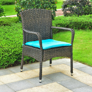 Majorca Resin Pandan Steel Arm Chair with Cushions Dark Coffee/Aqua Blue by International Caravan - Swing Chairs Direct