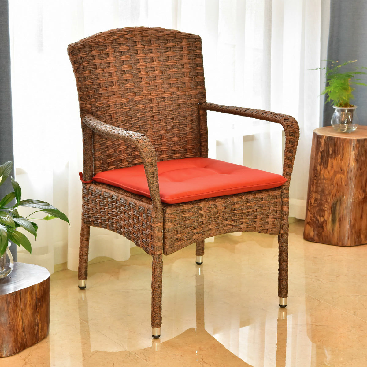 Majorca Resin Pandan Steel Arm Chair with Cushions Espresso/Spice by International Caravan - Swing Chairs Direct