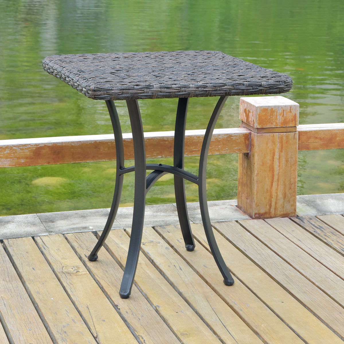Ibiza Resin Pandan Aluminum Polywood Top Square Bistro Table Dark Coffee by International Caravan - Swing Chairs Direct