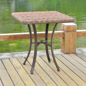 Ibiza Resin Pandan Aluminum Polywood Top Square Bistro Table Espresso by International Caravan - Swing Chairs Direct