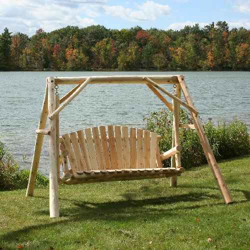 Lakeland Mills Cedar Log Yard Swing - 5 Foot - Swing Chairs Direct