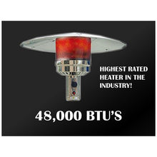 "87"" Tall Tapered Stainless Steel Patio Heater with Table - 05"