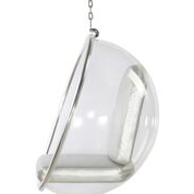 Hanging Bubble Chair Acrylic, Silver Cushion By Aron Living - Swing Chairs Direct