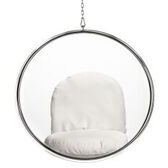 Hanging Bubble Chair Acrylic with White Cushion by Aron Living - Swing Chairs Direct