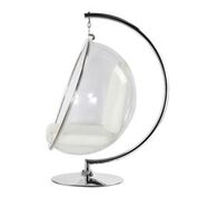 Hanging Bubble Chair Polished Chrome With Stand And White Cushion By Aron Living - Swing Chairs Direct