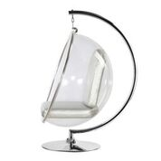 Hanging Bubble Chair Polished Chrome With Stand And Silver Cushion By Aron Living - Swing Chairs Direct