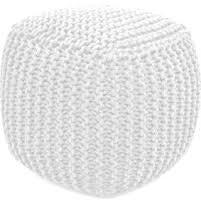 Aron Living Pouf Round Ottoman White - Swing Chairs Direct
