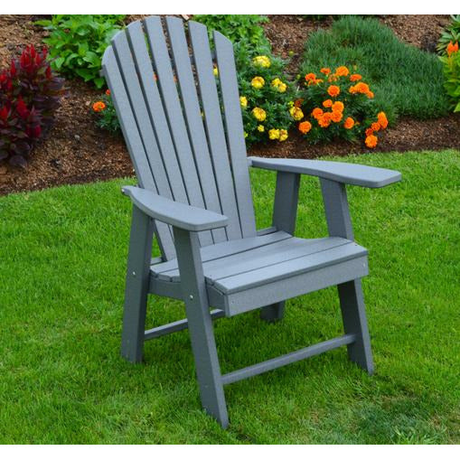 The A & L Furniture Recycled Plastic Upright Adirondack Chair is different from your standard Adirondack chair.  This Adirondack sits higher with a straight seat, unlike most Adirondack chairs that have an angled seat.  This Chair does not lean as far back as the standard Adirondack chairs, making it easier to get in and out of.  This handsome chair will be a great addition to your outdoor needs.