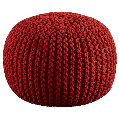 Aron Living  Pouf Round Ottoman Red Hand Crocheted -18 Inch diameter - Swing Chairs Direct