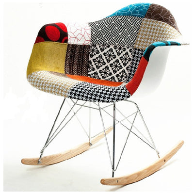 Aron Living Attoll Rocker Arm Chair, Cotton Fabric Patchwork Design - Swing Chairs Direct