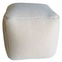 Aron Living Pouf Square Ottoman White - 16 inch - Swing Chairs Direct