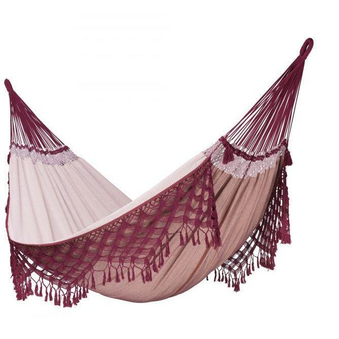 Bossanova Organic Cotton Kingsize Classic Hammock by La Siesta - Bordeaux - Swing Chairs Direct