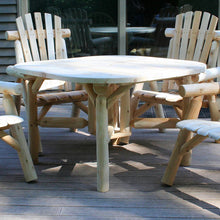 "Lakeland Mills Cedar Log 47"" Roundabout Table with 4 Benches"