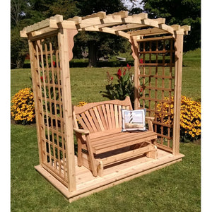 Cambridge Pine Arbor with Deck and Glider