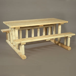 Cedar Looks Log Deluxe Picnic Table