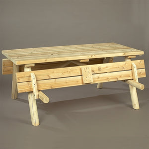 Cedar Looks Log Picnic Table w/Folded Up Benches