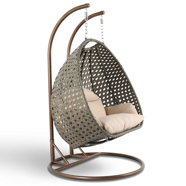Alfresconova Deluxe Double Seat Wicker Hanging Chair with Cushion, Latte