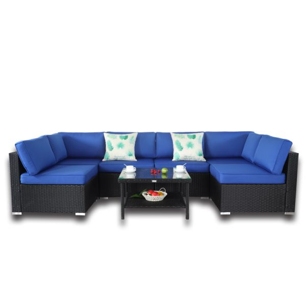 Enjoyable Rattan Sectional Sofa With Coffee Table Royal Blue Cushion 7 Piece Inzonedesignstudio Interior Chair Design Inzonedesignstudiocom