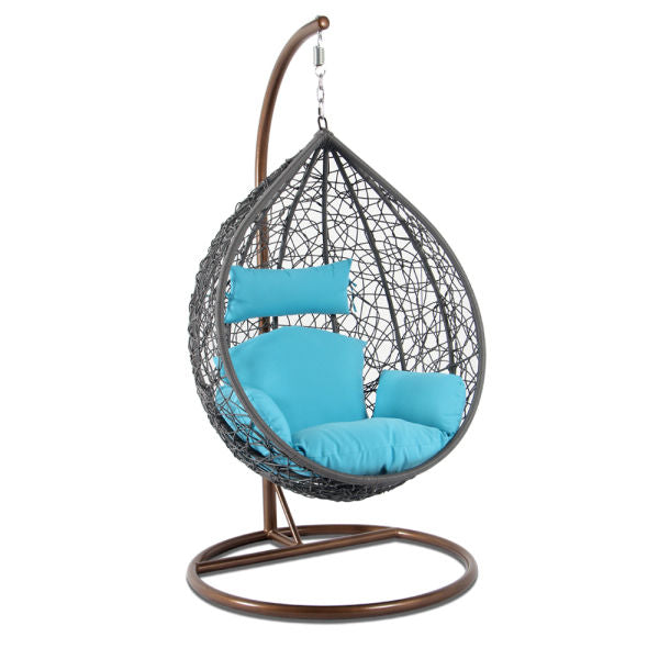 Alfresconova Furniture Gray Wicker Swing Chair with Blue Cushion - Swing Chairs Direct