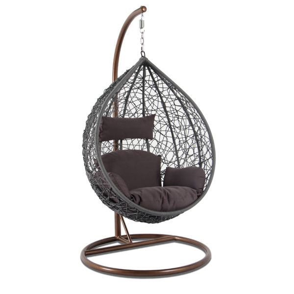 Alfresconova Furniture Gray Wicker Swing Chair with Brown Cushion - Swing Chairs Direct