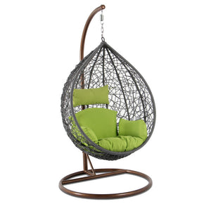 Alfresconova Furniture Gray Wicker Swing Chair with Green Cushion - Swing Chairs Direct