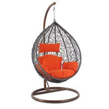 Alfresconova Furniture Gray Wicker Swing Chair with Orange Cushion - Swing Chairs Direct