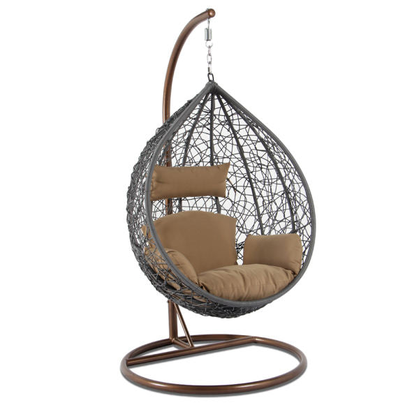 Alfresconova Furniture Gray Wicker Swing Chair with Light Brown Cushion - Swing Chairs Direct