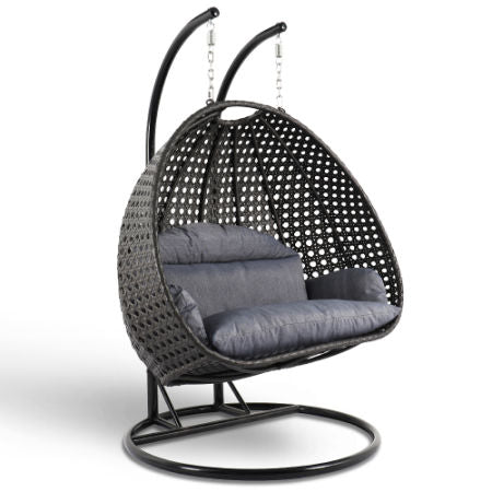Alfresconova Deluxe Double Seat Wicker Hanging Chair with Cushion, Charcoal - Swing Chairs Direct