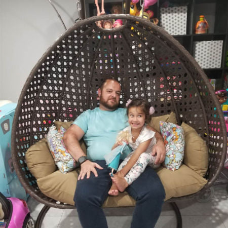 Alfresconova Deluxe Double Seat Wicker Hanging Chair With Cushion Lat Swing Chairs Direct