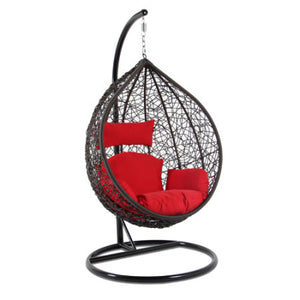 Alfresconova Furniture Gray Wicker Swing Chair with Red Cushion - Swing Chairs Direct