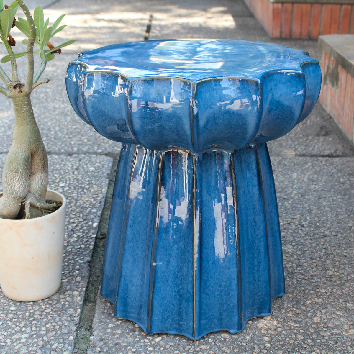 Navy Blue Round Scalloped Ceramic Garden Stool Navy Blue Glaze by International Caravan - 1
