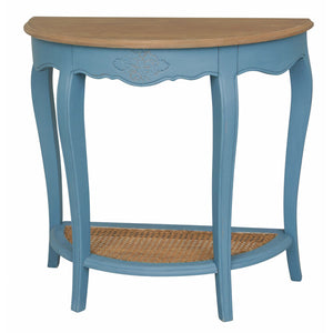 Ashbury Stradivarius Oak Veneer Half-moon Wall Table Antique Teal