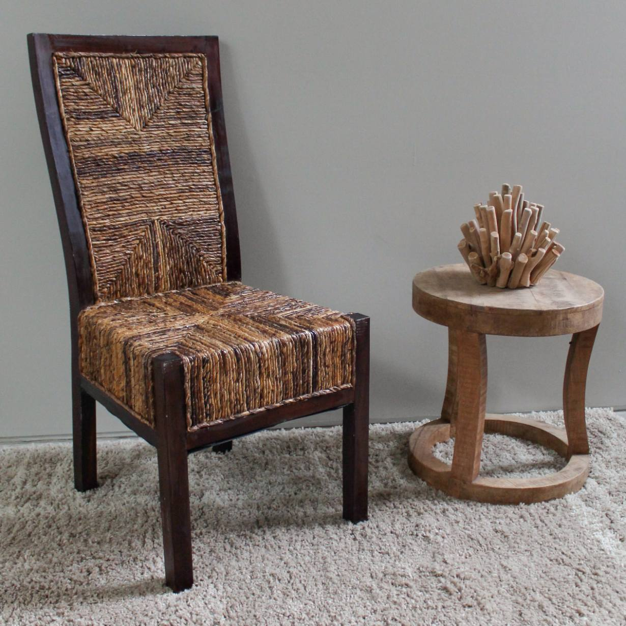 Dallas Abaca Weave Dining Chair Brown Mahogany