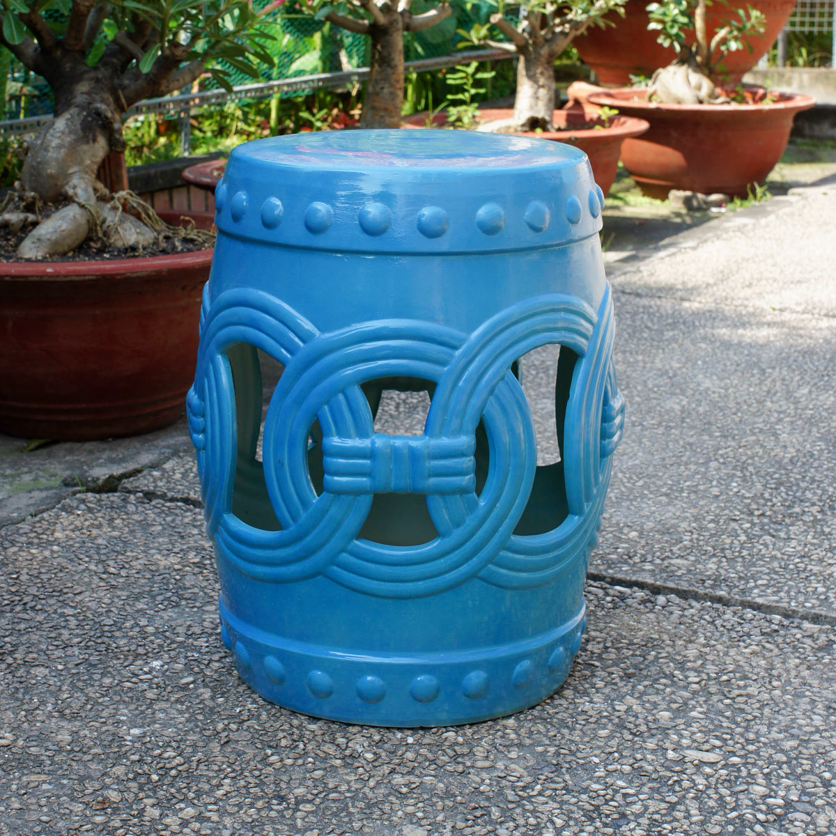 Infinity Chain Garden Stool Blue by International Caravan - Swing Chairs Direct