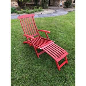 Royal Fiji Acacia Traditional Steamer Deck Lounger Barn Red by International Caravan - 1