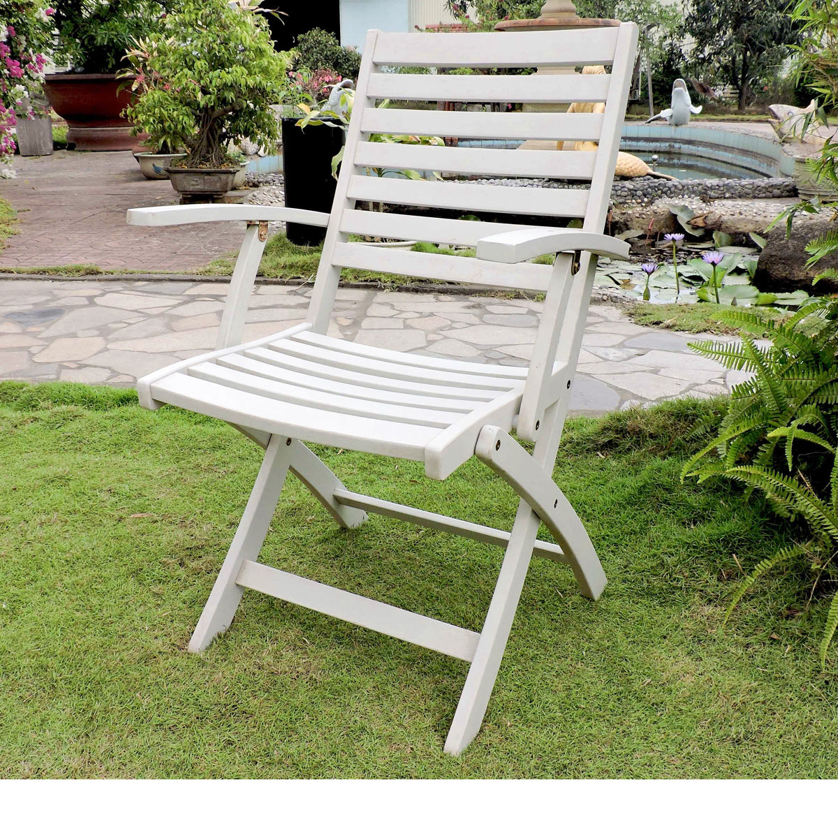 Superb Folding S 2 Ladder Back Armchair With Antique White Finish By International Caravan Ncnpc Chair Design For Home Ncnpcorg