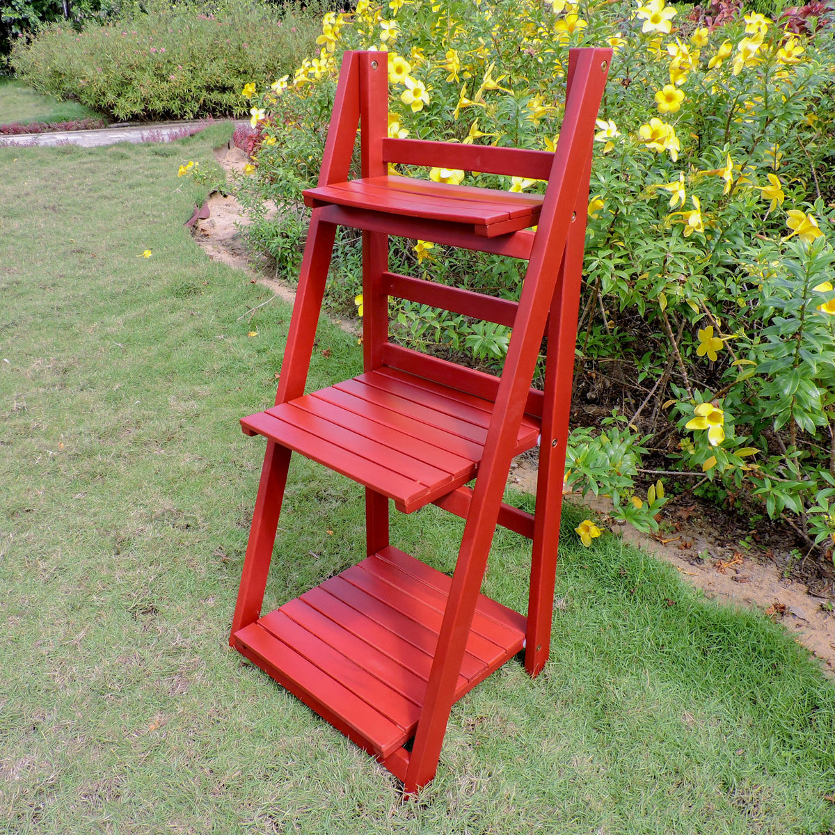 Royal Fiji Acacia 3-Tier Plant Stand Barn Red by International Caravan - 1
