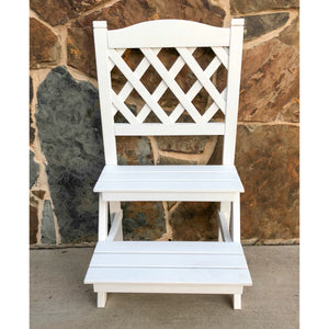 Royal Fiji Acacia 2-Tier Trelis Plant Stand Antique White by International Caravan - 1