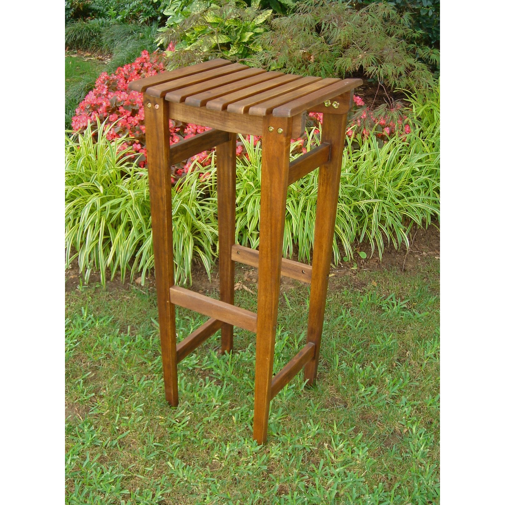 Backless Bar Stool Brown by International Caravan - Swing Chairs Direct