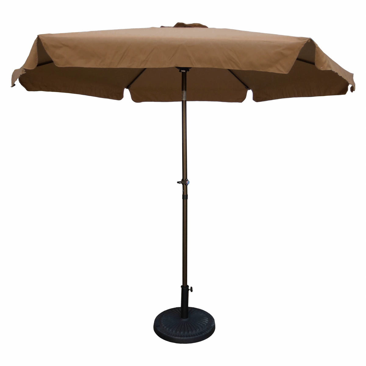 Outdoor 9 Foot Aluminum Umbrella With Flaps Chocolate/Coffee by International Caravan - 1