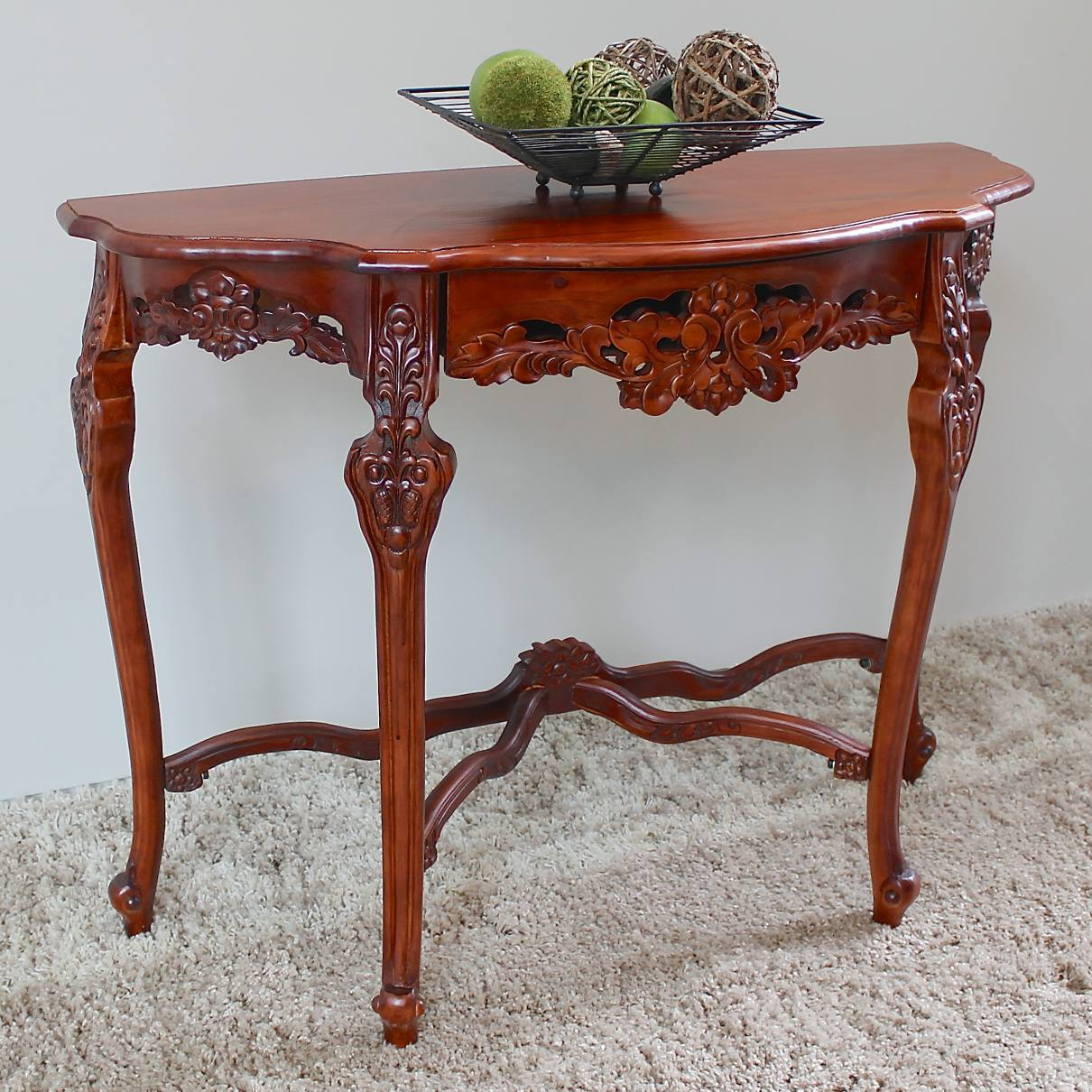 Windsor Hand-Carved Half Moon Console Table Stain