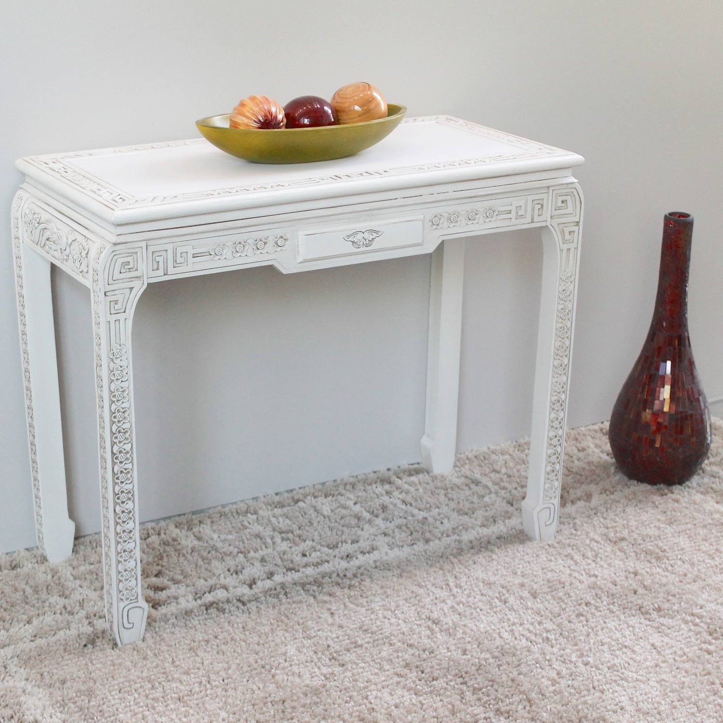 Windsor One Drawer Ming Console Table Antique White