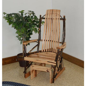 Overall Dimensions: 27W x 26D x 47H in. Inside Seat Dimensions: 20W x 19D x 17H in.  Back Dimensions: 30H in. Weight: 45 lbs Glider Rocker Weight: Capacity 300 lbs. Smooth Gliding Motion This single glider adds some rustic charm to your home Made with real hickory sticks and rustic hickory slats and arms Hickory sticks are steamed and hand bent to give each piece its own unique look & character