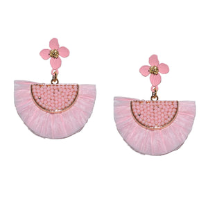 RAFFIA EARRING IN MIXED PINK WITH FLOWER POST